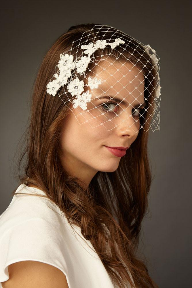 Bridal Birdcage Veil with Applique Lace by Genevieve Rose Atelier