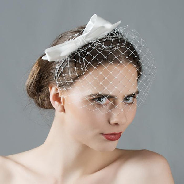 Bridal Birdcage Veil Headband with Silk Bow by Genevieve Rose Atelier