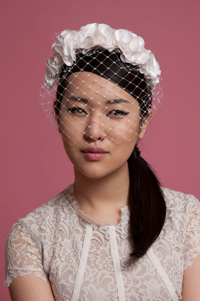 Bridal Birdcage Veil with Flower Crown by Genevieve Rose Atelier