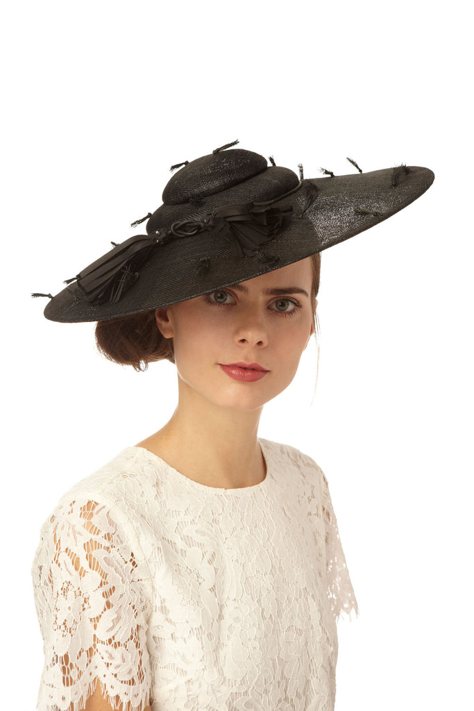 Black Straw Derby Pyramid Hat with Tassels by Genevieve Rose Atelier