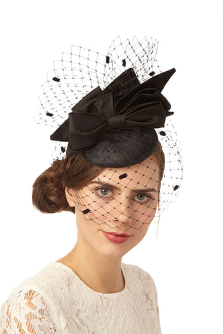 Black Cocktail Derby Hat with Spot Veil and Silk Bows by Genevieve Rose Atelier