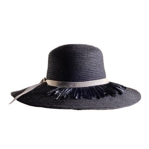 Black Hemp Sun Hat with Raffia Fringe by Genevieve Rose Atelier