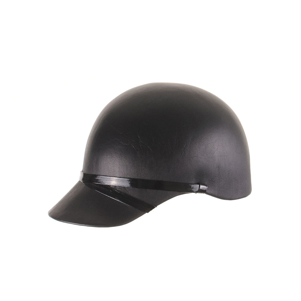 Custom Black Leather Equestrian Cap by Genevieve Rose Atelier