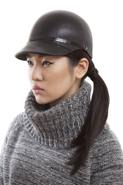 Custom Black Leather Riding Cap by Genevieve Rose Atelier