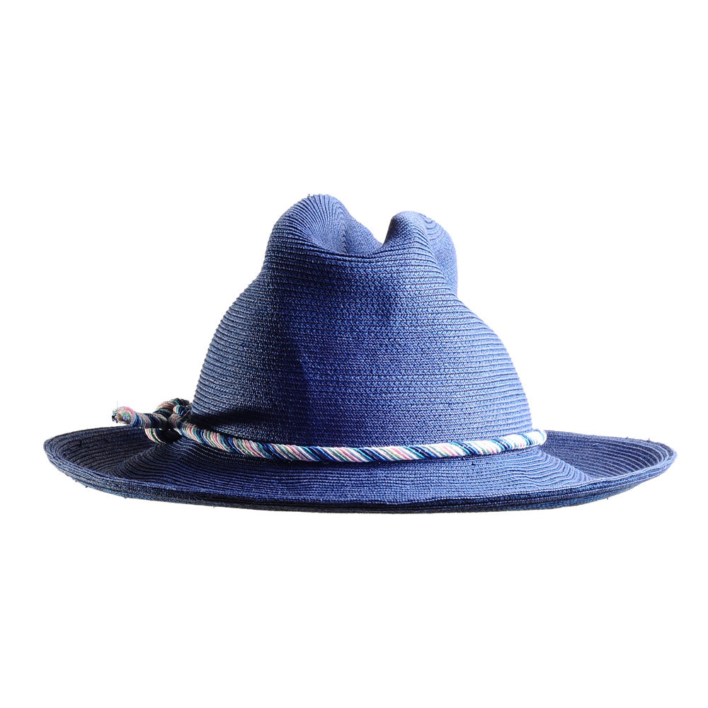 Blue Summer Cowboy Hat with Vintage Cord by Genevieve Rose Atelier