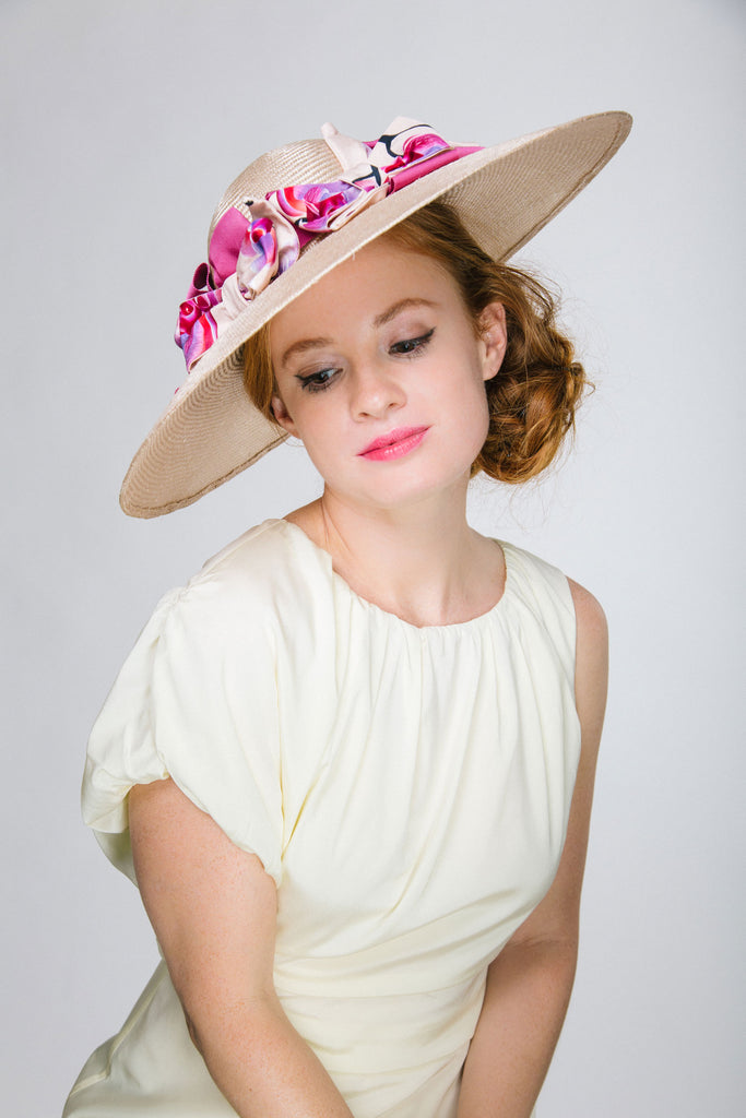 Blush Pink Large Derby Hat with Pink and Purple Bows by Genevieve Rose Atelier