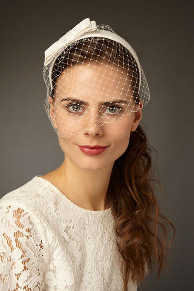 Bridal Birdcage Veil with Silk Bow for a Short Wedding Dress by Genevieve Rose Atelier