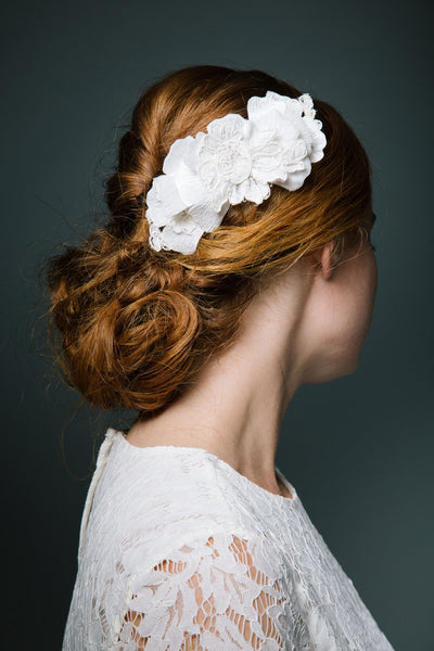 Velvet and Lace Bridal Comb by Genevieve Rose Atelier