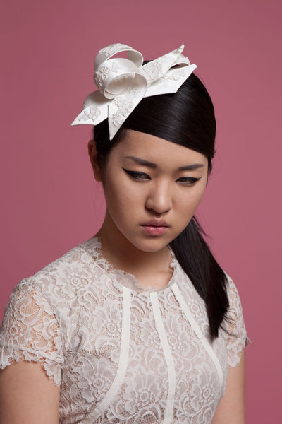 Sculptural Bridal Silk Bow Fascinator by Genevieve Rose Bridal