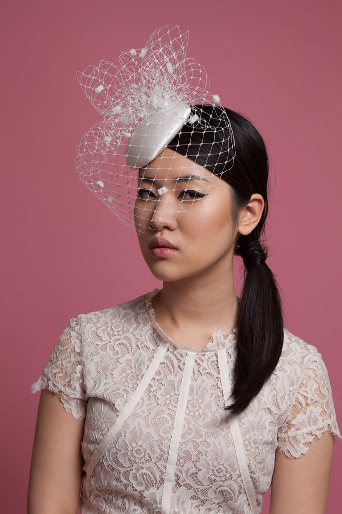 Spot Birdcage Veil Bridal Fascinator by Genevieve Rose Atelier