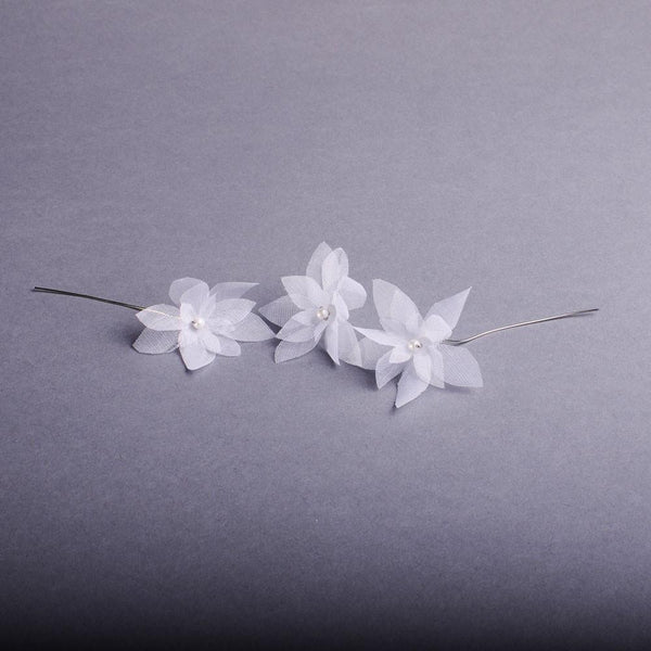 Set of 3 Organdie Bridal Hair Pins for a Fishtail Braid by Genevieve Rose Bridal
