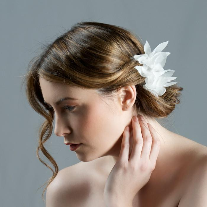 Bridal Comb with Lily Flowers by Genevieve Rose Atelier