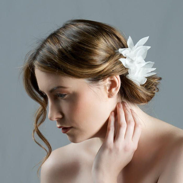 Bridal Comb with Lily Flowers by Genevieve Rose Bridal