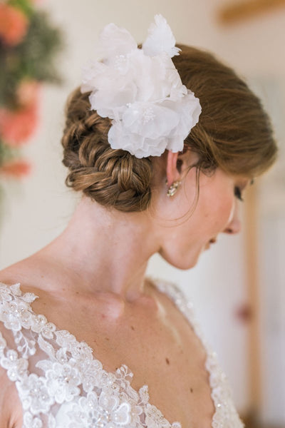 Vintage Silk Flower Bridal Hair Comb by Genevieve Rose Atelier