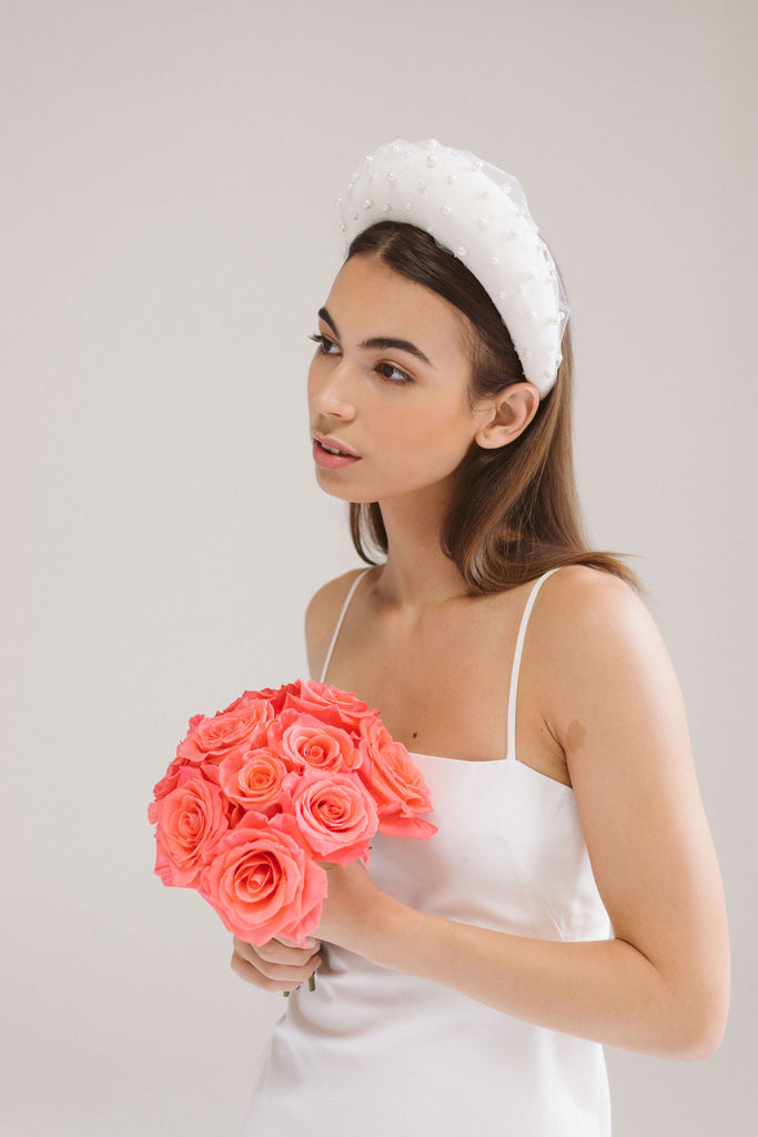 Oversized Bridal Headband with Pearls by Genevieve Rose Atelier