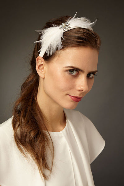 Bridal headband with feathers and deco crystals by Genevieve Rose Atelier