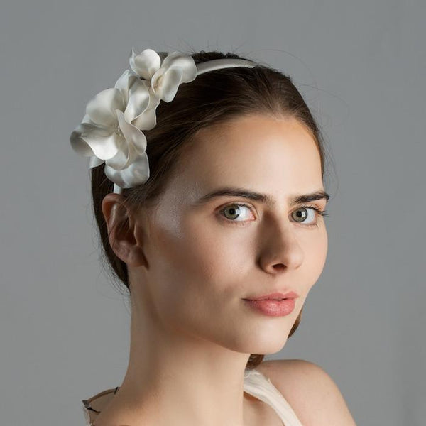 Bridal Headband with Silk Magnolia Flowers by Genevieve Rose Atelier