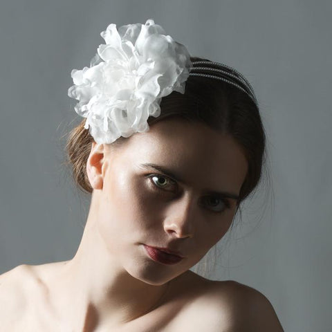 Bridal Pearl Headband with Silk Flower by Genevieve Rose Atelier