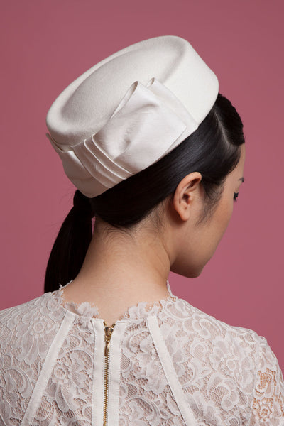 Bridal Felt Pillbox Hat with Silk Bow by Genevieve Rose Atelier