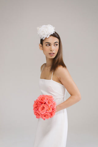 Serefina Silk Rose and Lace Bridal Headband by Genevieve Rose Atelier