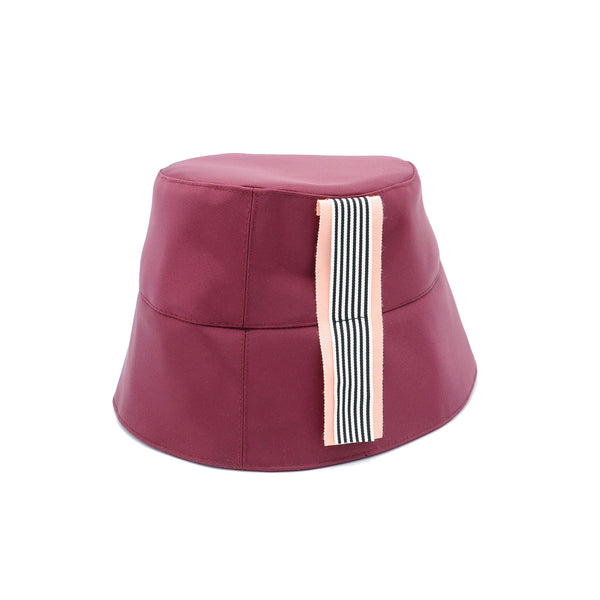 Burgundy Bucket Hat with Stripe Ribbon by Genevieve Rose Atelier