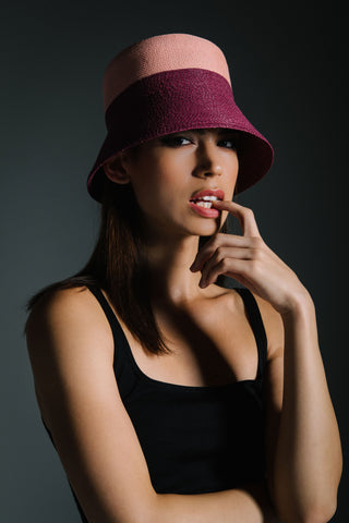 Burgundy Bucket Hat by Genevieve Rose Atelier