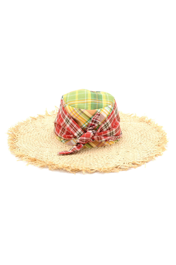 Coogee Mixed Plaid and Frayed Raffia Sun Hat by Genevieve Rose Atelier