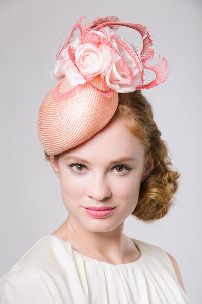 Coral Pink Straw Derby Fascinator with Roses and Feathers by Genevieve Rose Atelier