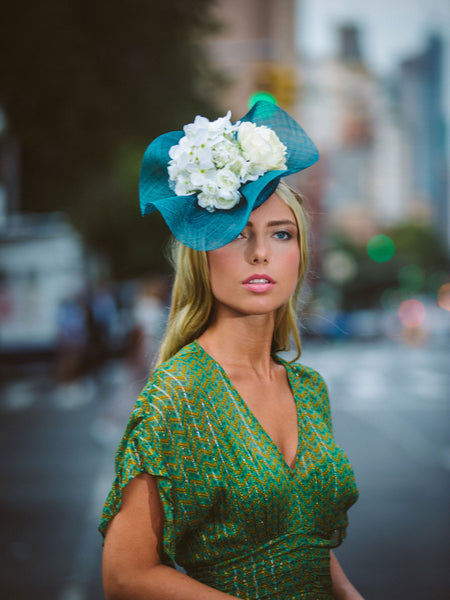 Dahlia Teal Derby Fascinator with White Flowers Genevieve Rose Atelier