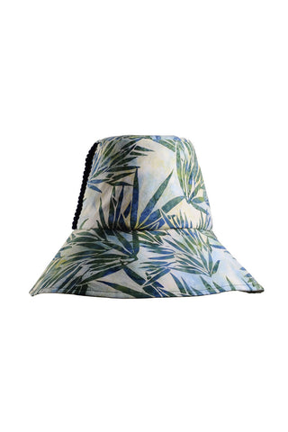 Palm Print Packable Cotton Sun Hat be Genevieve Rose Atelier