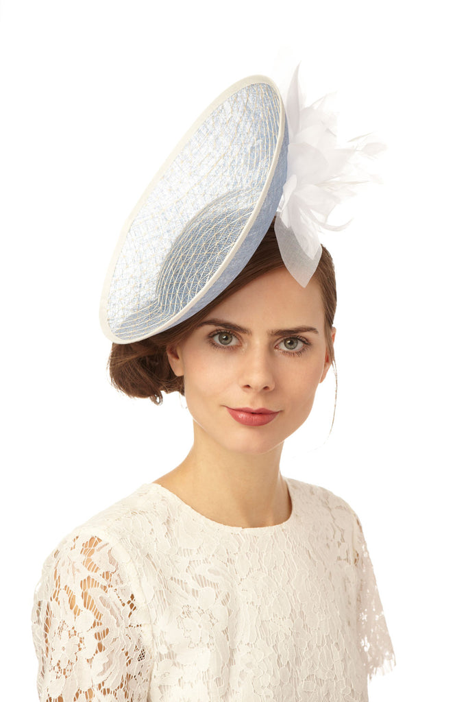 Pale Blue Straw Disc Fascinator with Side Flowers by Genevieve Rose Atelier