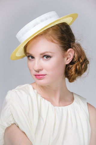 Yellow and White Straw Boater Hat with Tassels by Genevieve Rose Atelier