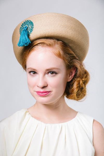 Breton Brim Fine Straw Derby Hat with Tassel by Genevieve Rose Atelier