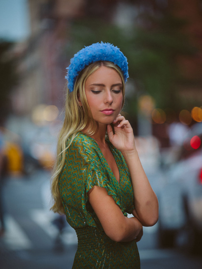 Large Blue Derby Headband by Genevieve Rose Atelier