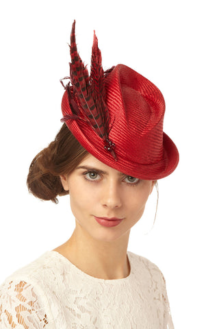 Red Straw Mini Top Hat with Feathers by Genevieve Rose Atelier