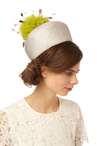 Large Vintage Straw Pillbox Hat with Feather Pompom by Genevieve Rose Atelier