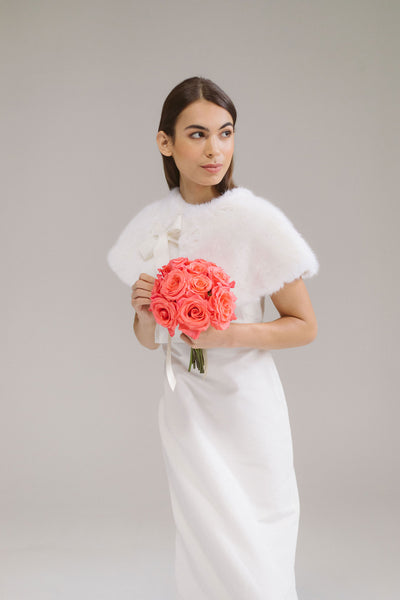 Faux Fur Bridal Capelet by Genevieve Rose Atelier