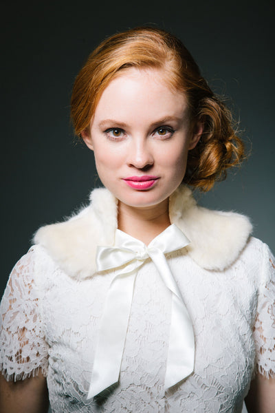 White Faux Fur Collar with Bow by Genevieve Rose Atelier