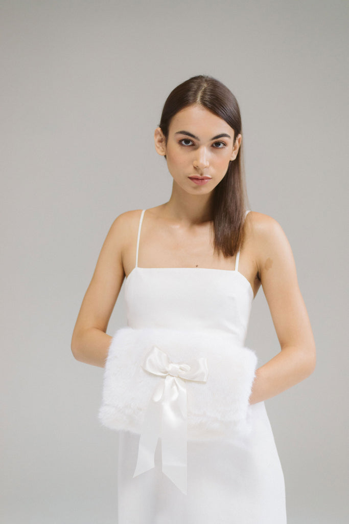 Domna Faux Fur Bridal Hand Muff by Genevieve Rose Atelier