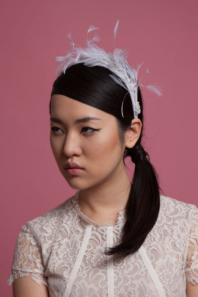 Silk Bridal Headband with Feathers and Beading by Genevieve Rose Atelier
