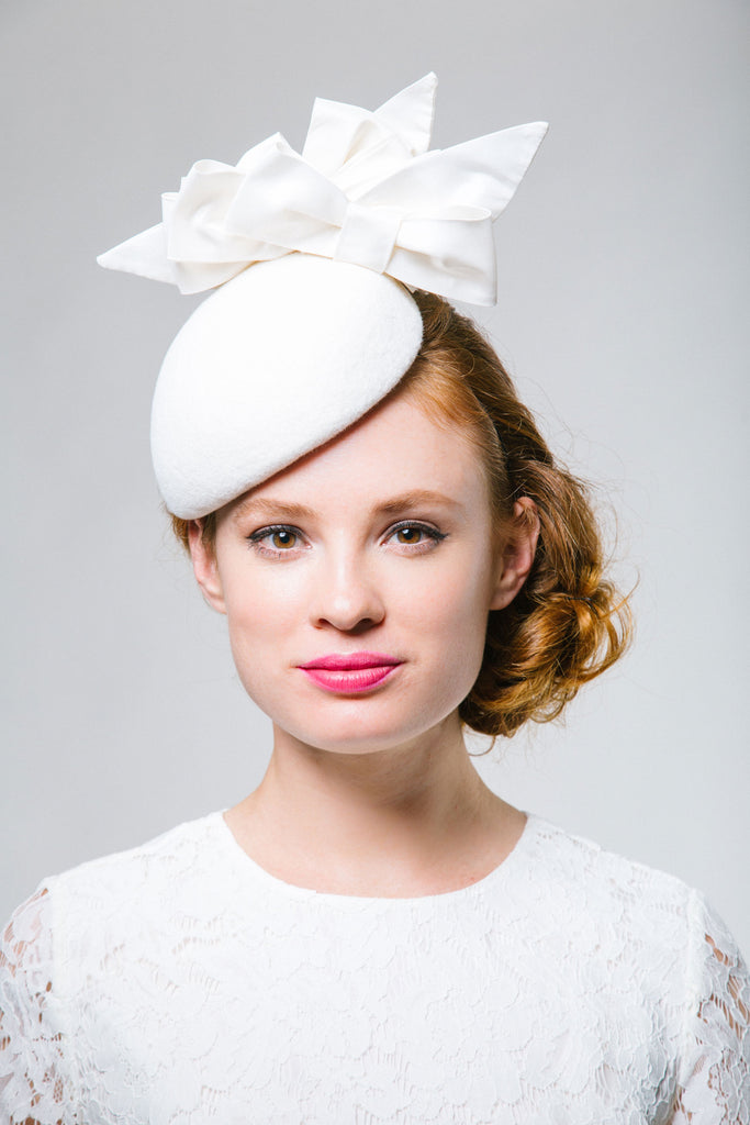 White Felt Bridal Beret with Silk Bows by Genevieve Rose Atelier