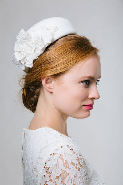 Ivory Felt Bridal Pillbox Hat with Velvet Trim - Genevieve Rose Atelier