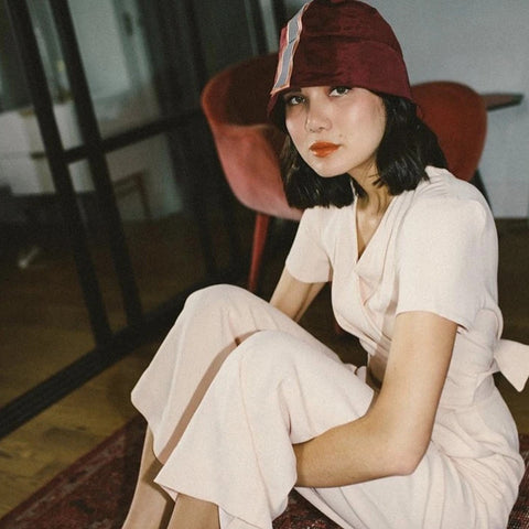 Dylana Suarez Burgundy Bucket Hat by Genevieve Rose Atelier