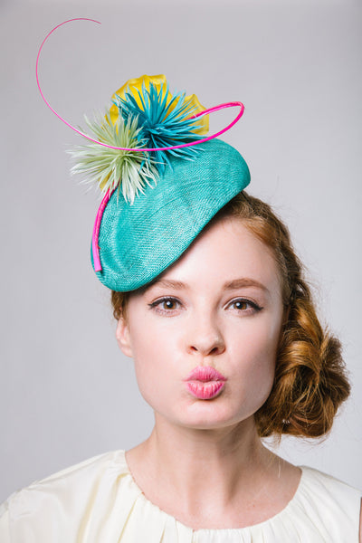 Jade Green Derby Fascinator with Feather Flowers by Genevieve Rose Atelier