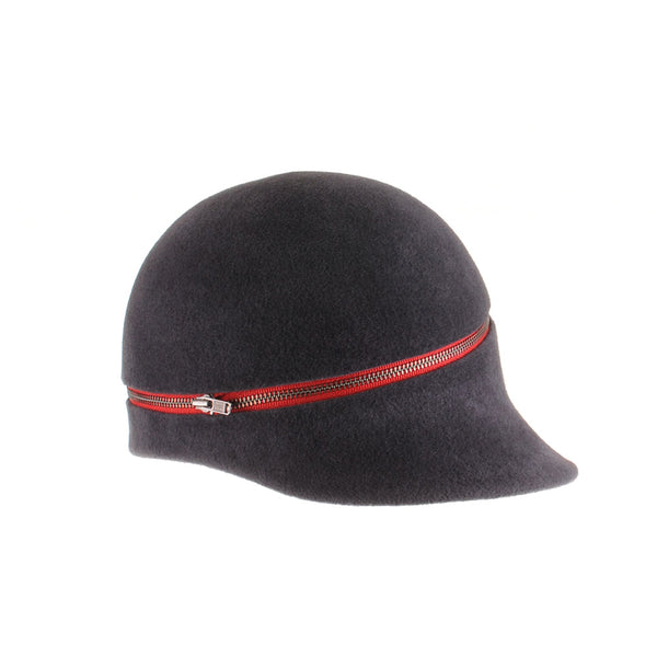 Grey Felt Cap with Red Zipper by Genevieve Rose Atelier