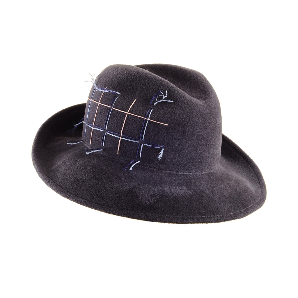 Dark Grey Custom Felt Fedora with Embroidered Tartan Plaid by Genevieve Rose Atelier