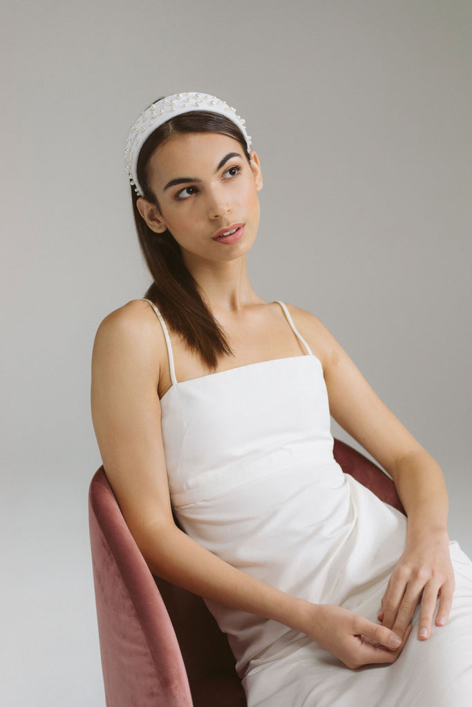 Clotilde Ivory Velvet Headband with Pearls by Genevieve Rose Atelier