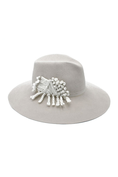 Winter White Large Felt Fedora with Chunky Embroidery by Genevieve Rose Atelier