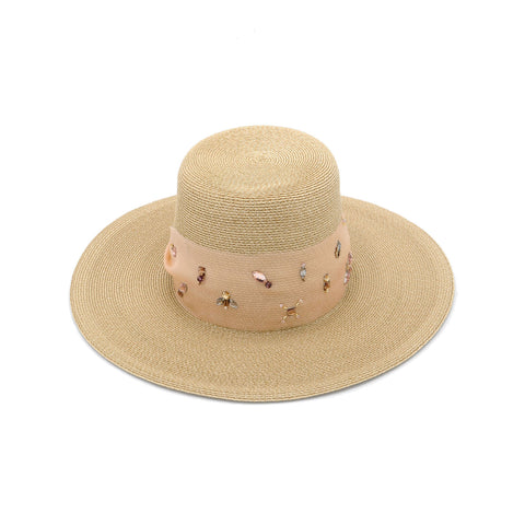 Fine Straw Large Sun Hat with Peach Organza by Genevieve Rose Atelier