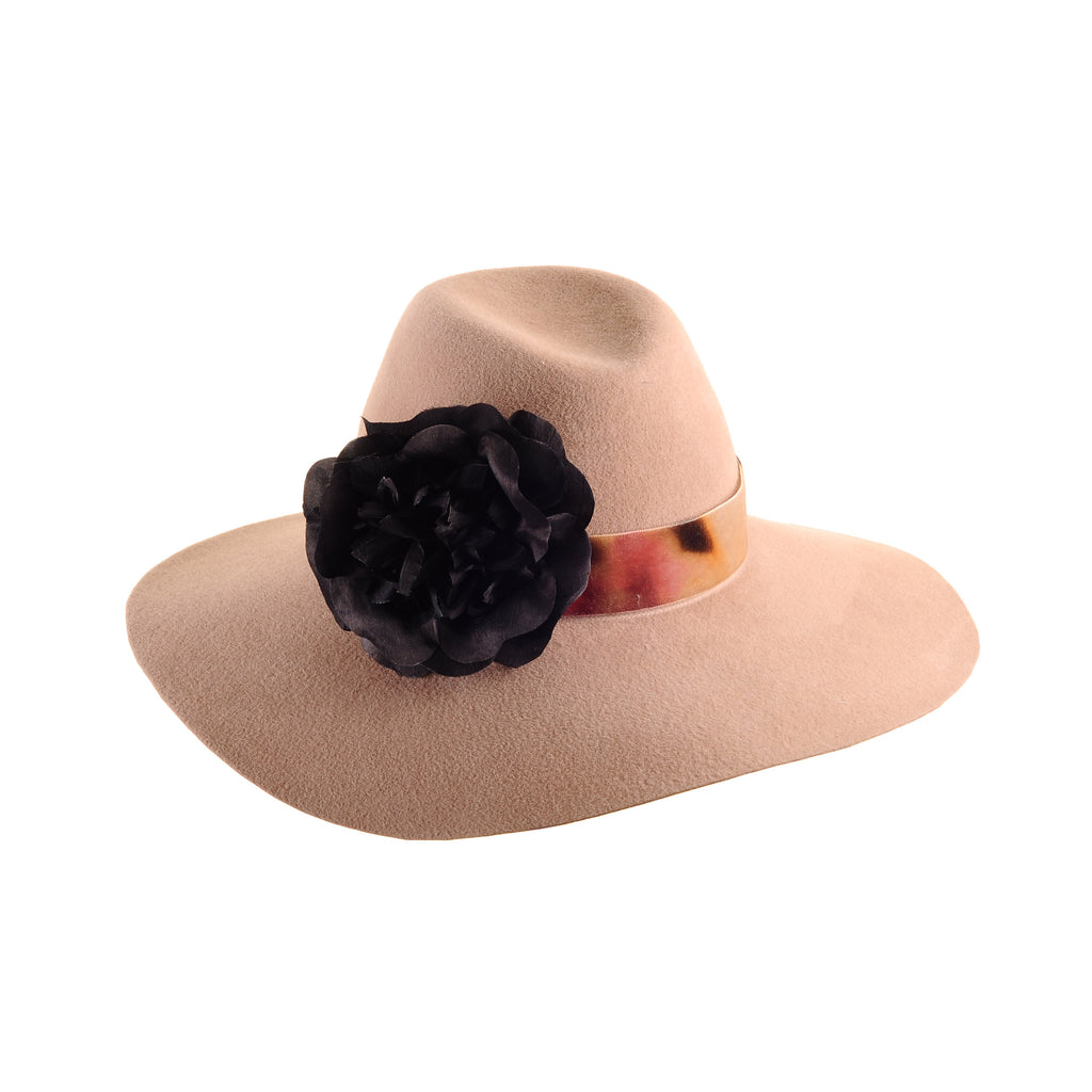 Large Camel Custom Felt Floppy Fedora with Silk Flower and Vintage Velvet Ribbon by Genevieve Rose Atelier